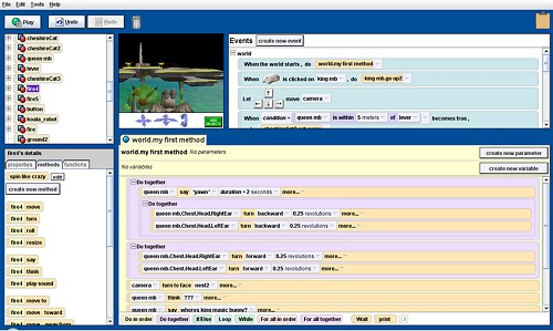 A screenshot of the Alice program virtual world development program